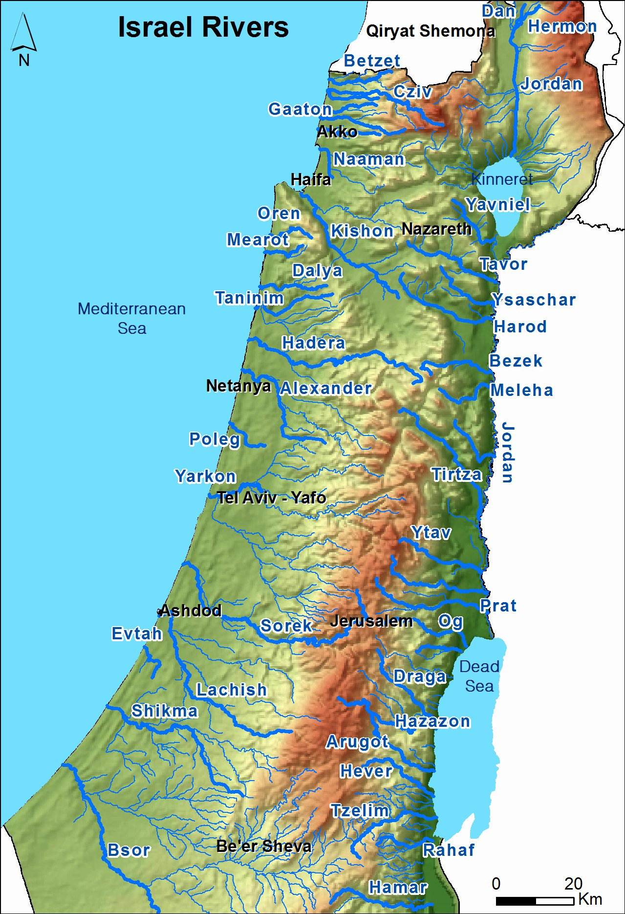 Israel Rivers Map